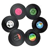 Txian 6 StückRetro-Untersetzer, Stil Vinyl, LP, Schallplatten, rutschfester, isolierter...