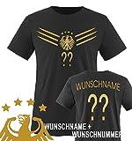 Comedy Shirts - WM 2014 - DEUTSCHLAND - DELUXE F1-VH-Wunsch - Kinder T-Shirt - Schwarz / Gold Gr....