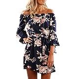 Yieune Sommerkleider Lange Ärmel Schulterkleid Blumenmuster Kurzes Strandkleid(Blau S)