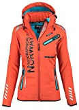 Geographical Norway Damen Softshell Funktions Outdoor Regen Jacke Sport [GeNo-24-Orange-Gr.S]