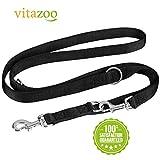 VITAZOO Premium Hundeleine in Graphitschwarz, massiv und verstellbar in 4 Längen (1,1 m - 2,1 m),...