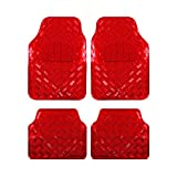 Auto Fußmatten/Auto Matten, Alu Look, Universal passend, 4-teilige Riffelblech, Rot 7103