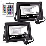 Ustellar 2er RGB 30W LED Strahler Mit Fernbedienung 16 Farben und 4 Modi Objektbeleuchtung LED...