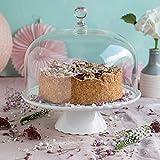 Zauberhaft: Tortenplatte 'Sweet Flower' Medium in Weiß mit Glashaube, Ø 28 cm