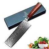 YARENH Damastmesser Kochmesser Nakirimesser 17cm,Damaszener Küchenmesser Aus Japan...