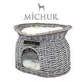 MICHUR RICHY, Katzenhöhle, Hundehöhle, Katzenkorb, Hundekorb, WEIDE, RATTAN, NATUR, ca. 55x39x43cm...