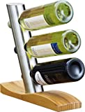 Weinregal JAMES Weinflaschenhalter aus mattiertem Edelstahl, auf einem geschwungenen Bambus-Fuss.