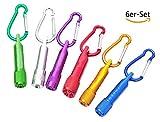 Dosige 6er-Set Mini-Taschenlampe Schlüsselanhänger Minitaschenlampen Schlüsselbund Zufällige...