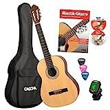 CASCHA HH 2043 DE Konzertgitarre 4/4 Bundle, natur matt, Fichtendecke, Gitarrenschule mit CD + DVD,...