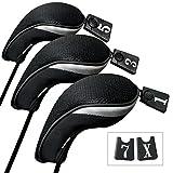 3 Packung Andux golf holz Schlägerkopfhüllen Eisen hauben austauschbar Nr. Etikett MT/mg04 schwarz