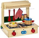 Kinderküche aus Holz, inkl. Zubehör (Pfanne, Schnellkochtopf, zwei Holzdosen mit Deckel, zwei...