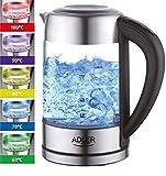 Glas Wasserkocher Edelstahl mit Temperaturwahl | Teekocher | 100% BPA FREI |  Warmhaltefunktion |...