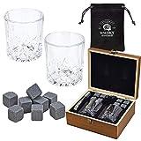 WOMA 8 Whisky Steine mit 2 Whiskey Gläsern, Zange und Holz Geschenkbox - Whiskeysteine aus...