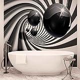 Fototapete Tapete ForWall 3D Schwarz Weisser Tunnel AF3065P4 (254cm x 184cm) Photo Wallpaper Mural