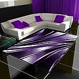 Moderner Design Teppich Wellen Teppich Kurzflor Wohnzimmer versc. Farben Größen, Farbe:Lila,...