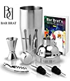5 Piece Deluxe 24 Oz. Cocktail Shaker Bar Set by Bar Brat ™ / Bonus 130+ Cocktail Recipes (ebook)...