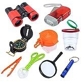 Abenteuer Werkzeug für Kinder 10 in 1 Exploration Kit mit Fernglas/ Taschenlampe/ Kompass/ Pfeife/...