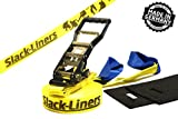 4 Teiliges Slackline-Set GELB - 50mm breit, 15m lang - mit Langhebelratsche - Slack-Liners - Made in...
