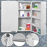 Medizinschrank Abschließbar Groß | Weiß, XXL (53x53x20cm) mit 11 Fächer und 2 Türen, aus Stahl...