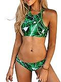 Dare Color Damen Bikini Set Kokosnuss Print Bikini Push Up Neckholder Badeanzug Blumen Strappy...