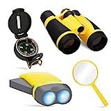 COOKJOY Outdoor Kit für Kinder - Fernglas, Taschenlampe, Kompass, Lupe - Entdecker-Spielzeug für...