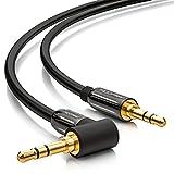 deleyCON 0,5m Klinkenkabel 3,5mm AUX Kabel Stereo Audio Kabel Klinkenstecker 1x 90° gewinkelt für...