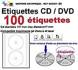 CD- / DVD-Etiketten, selbstklebend, Durchmesser 117mm + Loch (17mm), 2Etiketten pro Blatt,...