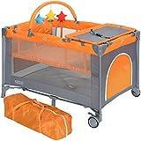 LCP Kids Kinder Reisebett faltbar 120x60 cm höherverstellbar Baby Wickelauflage; Farbe: grau orange