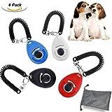 WisFox 4 Pcs Profi Clicker mit Elastischer Handschlaufe Haustier Hundetraining Clicker Big Button...
