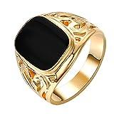 Yoursfs vergoldet 18k Gold Solitaire schwarz Siegelring Öl-Tropfen für Männer oder Knaben oder...