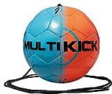 Derbystar Fußball Multikick, mit Schnur, Ball Größe 5 (300 g), blau orange, 1067