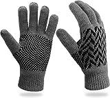 Thermo Strick Handschuhe mit Thinsulate Futter Unisex - Erwachsene mit Norweger Motiv Farbe Grey...