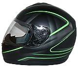 Protectwear Motorradhelm, Integralhelm, Matt Schwarz/Grünes Muster, XL
