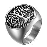 JewelryWe Schmuck Herren-Ring, Edelstahl Runden Siegelringe Baum des Lebens Lebensbaum Biker Ring,...
