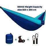 Portable XL Camping-Hängematte mit Tragetasche zum Wandern, Reisen, extra großer Kapazität von ½...