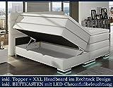 XXL ROMA Boxspringbett mit Bettkasten Designer Boxspring Bett LED Schneeweiss Rechteck Design...
