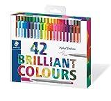 Staedtler triplus 334 C42 Fineliner, dreikant, Set mit 42 brillanten Farben, Promotion 32 + 10...