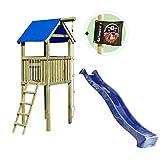 Spielturm Alto mit Rutsche und Kletterseil ca.118 x 118 x 350 cm Holz KDI von Gartenpirat®