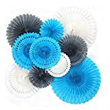 Feelshion 10er Blau Seidenpapier Fächer Set(Tissue paper Fans Kit), Dekoration für Party/Feier/...