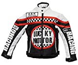 Kinder Bikerjacke in schwarz/weiß, Motorradjacke, Racing Jacke (M)