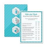 Babyparty Baby Shower Spiel-Set 8 Stück Wahr oder Falsch junge blau Partyspiel Quiz Spiel Deko...