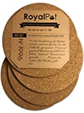 RoyalPot Topfuntersetzer Hitzebeständig (245°C) mit 19cm Ø   4er Set aus Kork, Untersetzer für...