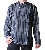 Fischerhemd Kurtha Gestreift Überzieher Hemd Poncho Mittelalter Nepal, Größe:M, Farbe:Black /...