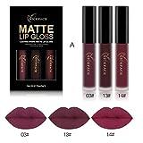ESAILQ Neue 3 STÜCKE Neue Mode Wasserdicht Matt Flüssigen Lippenstift Kosmetische Lipgloss Kit