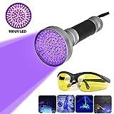 100 LEDs UV Schwarzlicht Taschenlampe mit UV-Schutzbrille, Professional Heimtierurindetektoren, für...