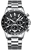 Herren Edelstahl Uhren Männer Chronographen Sport 30M Wasserdicht Luxus Datum Kalender Designer...