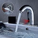 Obeeonr Kaltwasser Waschtischarmatur Infrarot Sensor Wasserhahn Wasserfall Einhebel...