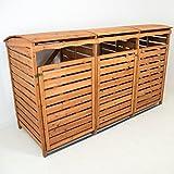 Mülltonnenbox mit Rückwand Holz für 3 Mülltonnen 240l Müllcontainer Mülltonnenverkleidung...