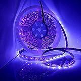Wasserdichter UV Schwarzlicht LED Streifen 10 Meter mit 600 Stück 3528 UV-SMD, 12V 4A Netzteil und...