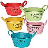 3 Stück _ kleine Pflanzkübel / Blumentöpfe / Pflanzschalen - METALL Blech - ' Flowers & Garden -...